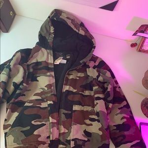 Thick canvas coat camouflage- youth xl 16-18